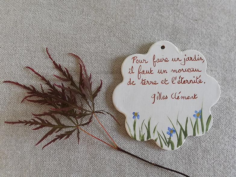 Citation de Gilles Clément sur céramique par Myriem Verhille céramiste
