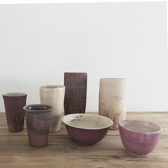 Ensemble de bols et vases en céramique artisanale par Myriem Verhille Céramiste
