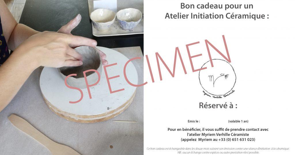 Bon cadeau pour séance initiation à la céramique atelier Myriem Verhille Céramiste